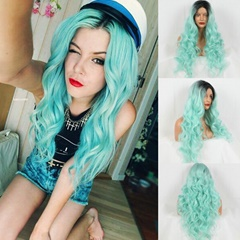 Handmade Black Ombre Mint Green Heat Resistant Hair Perruque Party Synthetic Lace Front Wig For Women Middle Part Bleached knots
