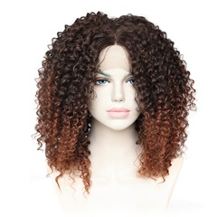 High quality cheap ombre two tone black to brown lace front wig kinky curly glueless synthetic lace front wigs heat resistant