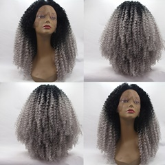 Synthetic Lace Front wigs Long kinky curly blonde to white