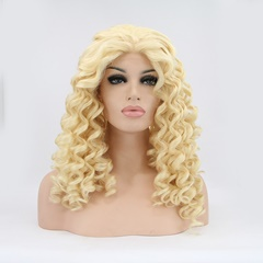 Cheap 24inch Curly Blond Synthetic Lace Front Wigs Glueless Ombre Celebrity Front Lace Wigs