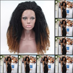 Glueless Fashion cheap lace front wigs Kinky Curly Synthetic Lace Front Wigs Two Tone Black To Brown lace front synthetic wigs for Women