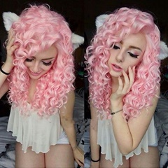 Glueless Pink Curly Synthetic Hair Lace Front Wigs With Elastic Adjustable Straps and Combs