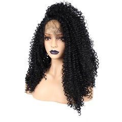 Glueless High Quality Long Kinky Curly Black Side Part Synthetic Lace Front Wigs For African American Kinky Curly Lace Wigs
