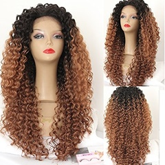 Top quality Glueless synthetic lace front wigs long afro kinky curly Synthetic braided lace front wigs for black women