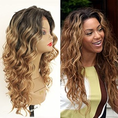 Long Blonde Ombre Curly Lace Wigs 2 Tone Color Brown Roots Loose Curly Synthetic Hair Lace Wigs for Women 24 Inch