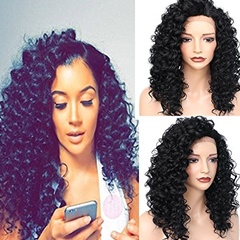 Afro Kinky Curly Synthetic Lace Front Wig for African Americas Synthetic Lace Front Heat Resistant Hair Fiber