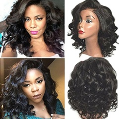 Sexy Short Bob Wigs for Black Women Body Wave Synthetic Lace Front Wigs Heat Friendly  Left Shapped with Natural Hairline