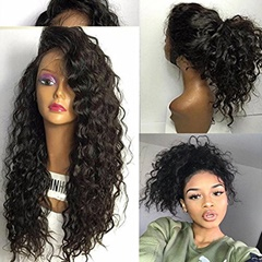 Fashion Water Wave Synthetic Lace Front Wigs Glueless Long Ombre Natural Black Heat Resistant Hair Woman Wigs