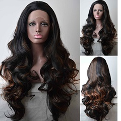 Amazing wavy  blonde highlight black synthetic  lace front wigs for black women 26inch  lace front  women wigs