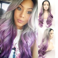 Grace Fantasy Celebrity Style Wigs Long Lace Front Synthetic Hair Wigs with Baby Hair,Black Root Gray Ombre Purpler Middle Part Synthetic Hair Wigs for Women