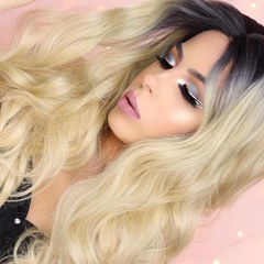 Body Wave Ombre Blonde Synthetic Lace Front Wig For Black Women Long Wavy Heat Resistant Synthetic Hair Women Wigs