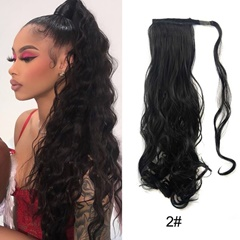 Grace Fantasy synthetic ponytail extensions 21 inches long wavey  fiber hair pieces 2# color dark brown light brown honey brown with rebbin  wrap around hrat resist  tail