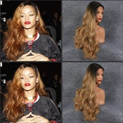 Celebrity Wig Rihanna Hair Style Blonde Wig Dark Root Best Synthetic Lace Wigs High Temperature Heat Resistant Fiber Hair Wig