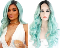 Grace Fantasy Ombre Lace Front Wigs Synthetic Hair with Baby Hair,#1BTMint Green Ombre Synthetic Hair Wigs for Women