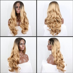 Dark Root Blonde Synthetic Wig Long Body Wave Heat Resistant Fiber Synthetic Hair Lace Wigs Glueless Wig For Women