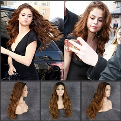 Premium Selena Hair Style Ombre Brown Synthetic Wigs For Women, Two Tones Dark Roots Long Wavy Front Lace Wig Heat Resistant Hair
