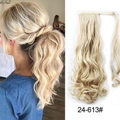 Grace Fantasy 21 inches wrap around hair pieces synthetic long wavey ponytail blonde ombre blonde color hair extensions for women