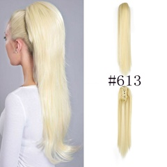 Grace Fantasy Hair synthetic ponytail #613 blonde color gold blonde with brown ombre straight claw clip in ponytail hair extensions for women heat resist long fiber hair tail