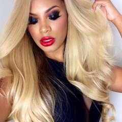 Natural Long Body wave Blonde Lace Front Wigs Synthetic Hair Heat Resistant Women Wigs Ombre Black/Blonde