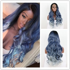 Long Wavy Black Roots Ombre Dark Blue to Blonde Tips Three Tones Synthetic Lace Front Wigs Heat Resistant Best Synthetic Wigs