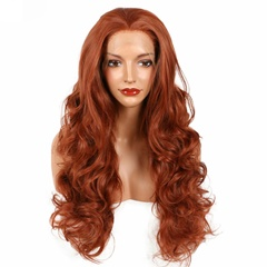 Grace Fantasy 350#Color Red Body Wave Synthetic Lace Front Wigs For Women Heat Resistant Wavy Auburn Natural Synthetic Hair Lace Wigs Part Wigs