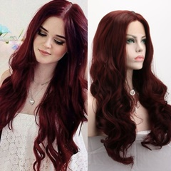 Long Hand Tied Heat Resistant Synthetic Hair Lace Wigs Burgundy Body Wave Lace Front Wigs For Women