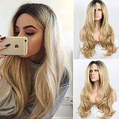 Fashion 26inch Long Wavy Lace Front Wigs Heat Resistant Hair Blonde synthetic lace front wigs heat resistant