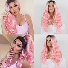 Blonde Lace Front Wigs synthetic hair long synthetic lace front wigs for women body wave ombre black to blond Heat Resistant Hair
