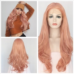 Natural Looking Natural Wave Pink Synthetic Hair Wigs Cheap Synthetic Lace Front Wigs with Natural Hairline for Women Heat Friendly