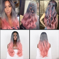 Grey to Pink Glueless Synthetic Lace Front Wigs Soft Pastel Pink Gold Heat Resistant Fiber Lace Front Wig For Women