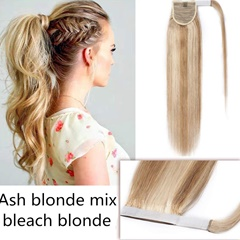 Grace Fantasy hight quality ash blonde golden blonde color platium blonde human hair ponytail with wrape straight long length daily wear