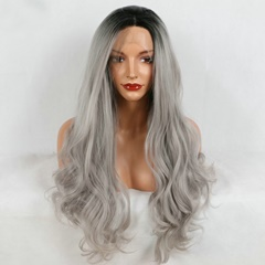 Grace Fantasy Lace Front Wigs Black Grey Synthetic Lace Front Wig Long Wavy Heat Resistant Fiber Glueless Lace Wigs For Black Women Natural Hairline