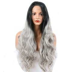 #1B/Grey Lace Front Wigs Synthetic Hair Ombre Gray Synthetic Hair Wigs Natural Hairline Free Part Body Wave Synthetic Lace Front Wig For Black Women Bleach knots
