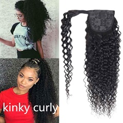 Grace Fantasy kinky curly kinky straight human hair black natural color hair extensions ponytail with wrape 8-20 inches hight quality