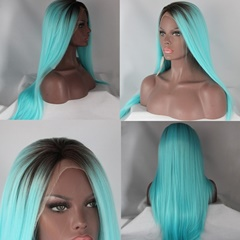 Straight Long Green Synthetic Lace Front Wigs With Elastic Adjustable Straps and Combs
