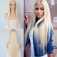 High Quality Heat Resistant Synthetic Straight Long Blonde Lace Front Wigs For Black Women