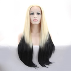 Glueless Fashion blonde to black straight synthetic lace front wigs long women wigs 26''
