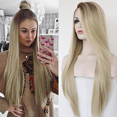 wholesale Long Straight Synthetic Lace Front Hair Wigs cheap lace wigs Ombre Two Tone Brown to Blonde