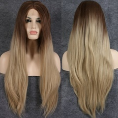 Long Silky Straight Dark Root Ombre Blonde Synthetic Lace Wigs Blonde Color Heat Resistant Hair Synthetic Wigs For Women