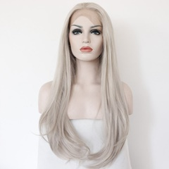Long Natural Straight Grey Lace Front Wigs Synthetic for Black Women synthetic hair wigs with baby hair