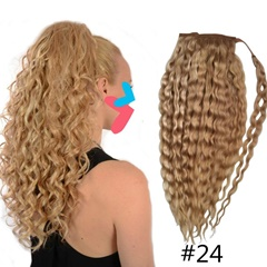 Grace Fantasy Human hair extensions ponytail blonde ombre color #24 #27 #613 ponytail water wave curly long length with clip wrape around hair pieces for women