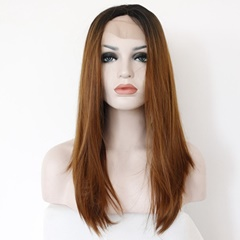 Ladies Front Lace Wigs Straight Long Synthetic Hair Glueless Lace Front Wigs Ombre Black to Brown Bleached knots