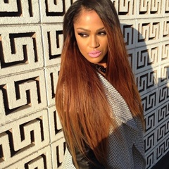 Long Straight Lace Front Wigs Synthetic Hair Omber Black to Brown Long Hair Wigs Synthetic Heat Resistant