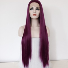 Amazing 99J Celebrity Wigs Long Synthetic Lace Front Wigs Straight Burgundy Heat Resistant Fiber African American Wig For Women