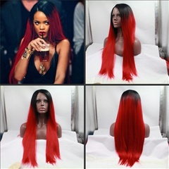 New!!!Long Red Synthetic lace front wigs silky straight lace front wigs for black women Heat Resistant Hair