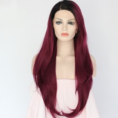 Long Straight 1B 99J Synthetic Hair Ombre Wig Dark Root Lace Front Wigs with Natural Baby Hair for Women Glueless Side Part Burgundy Synthetic Hair Wigs