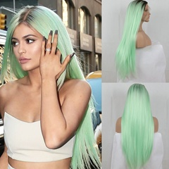 Glueless dark roots mint green two tone ombre silky straight synthetic lace front wigs green long heat resistant fiber hair synthetic lace wigs for women