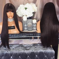 Silk Straight Full Fringe Glueless Heat Resistant Synthetic Lace Front Wigs With Bangs For Black Women Bleached Knots Black Hair Lace Wig