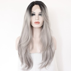Fashion new Ombre Wigs black light gray ombre Synthetic lace front Wigs natural straight Natural Lace Front Wigs