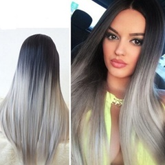Glueless Synthetic Wigs Grey Silk Straight Lace Front Wigs Synthetic Heat Resistant Ombre Wigs with Baby Hair